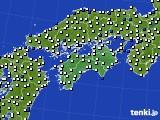四国地方のアメダス実況(風向・風速)(2018年04月19日)