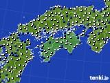 四国地方のアメダス実況(風向・風速)(2018年05月21日)