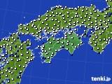 2018年06月17日の四国地方のアメダス(風向・風速)