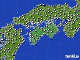 2018年06月24日の四国地方のアメダス(風向・風速)