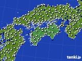 2018年06月26日の四国地方のアメダス(風向・風速)