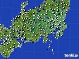 関東・甲信地方のアメダス実況(風向・風速)(2018年07月29日)