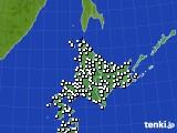 北海道地方のアメダス実況(風向・風速)(2018年08月14日)