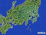 関東・甲信地方のアメダス実況(風向・風速)(2018年08月21日)