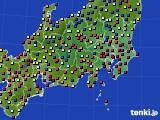 関東・甲信地方のアメダス実況(日照時間)(2018年08月25日)