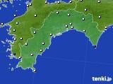 2018年10月08日の高知県のアメダス(風向・風速)