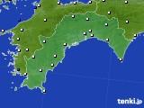 2018年10月13日の高知県のアメダス(風向・風速)