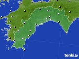 高知県のアメダス実況(風向・風速)(2018年10月14日)