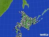 北海道地方のアメダス実況(風向・風速)(2018年10月16日)