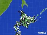 北海道地方のアメダス実況(風向・風速)(2018年10月18日)