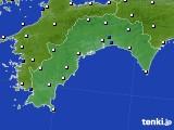 2018年10月24日の高知県のアメダス(風向・風速)