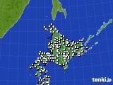 北海道地方のアメダス実況(風向・風速)(2018年12月08日)