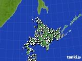 北海道地方のアメダス実況(風向・風速)(2019年01月04日)