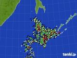 北海道地方のアメダス実況(日照時間)(2019年01月05日)
