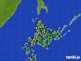 北海道地方のアメダス実況(積雪深)(2019年01月11日)
