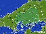 2019年01月22日の広島県のアメダス(風向・風速)