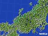 北陸地方のアメダス実況(風向・風速)(2019年02月07日)