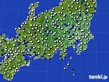 関東・甲信地方のアメダス実況(風向・風速)(2019年02月08日)