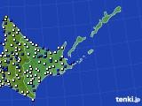 2019年06月14日の道東のアメダス(風向・風速)