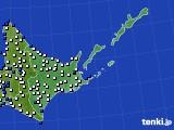 道東のアメダス実況(風向・風速)(2019年06月18日)