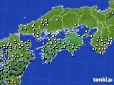 四国地方のアメダス実況(降水量)(2019年07月03日)