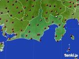 静岡県のアメダス実況(気温)(2019年08月10日)