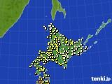 北海道地方のアメダス実況(気温)(2019年08月12日)