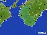 和歌山県のアメダス実況(気温)(2019年08月12日)