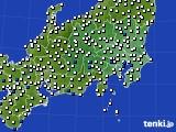 関東・甲信地方のアメダス実況(風向・風速)(2019年08月21日)