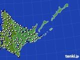道東のアメダス実況(風向・風速)(2019年08月22日)