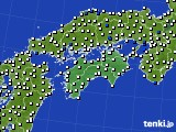 四国地方のアメダス実況(風向・風速)(2019年08月31日)