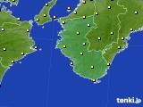 2019年10月16日の和歌山県のアメダス(気温)