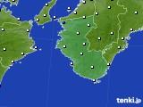 2019年10月16日の和歌山県のアメダス(風向・風速)