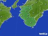 2019年10月17日の和歌山県のアメダス(風向・風速)