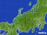 北陸地方のアメダス実況(降水量)(2020年01月02日)