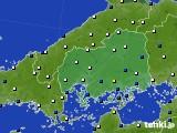 広島県のアメダス実況(風向・風速)(2020年01月27日)