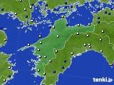 愛媛県のアメダス実況(風向・風速)(2020年01月27日)