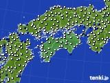 四国地方のアメダス実況(風向・風速)(2020年01月28日)