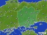 岡山県のアメダス実況(風向・風速)(2020年01月28日)