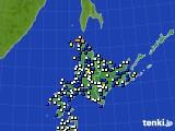 北海道地方のアメダス実況(風向・風速)(2020年01月30日)