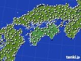 四国地方のアメダス実況(風向・風速)(2020年02月02日)