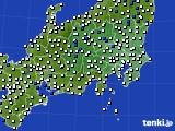 関東・甲信地方のアメダス実況(風向・風速)(2020年02月11日)