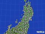 東北地方のアメダス実況(風向・風速)(2020年02月12日)