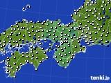近畿地方のアメダス実況(風向・風速)(2020年02月13日)
