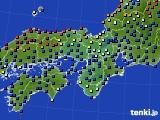 近畿地方のアメダス実況(日照時間)(2020年02月15日)