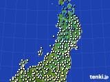 2020年02月15日の東北地方のアメダス(気温)