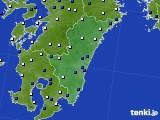 宮崎県のアメダス実況(風向・風速)(2020年02月17日)