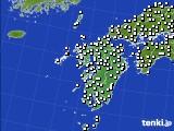 九州地方のアメダス実況(風向・風速)(2020年02月19日)