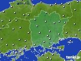 岡山県のアメダス実況(風向・風速)(2020年02月19日)