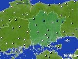 岡山県のアメダス実況(風向・風速)(2020年02月20日)